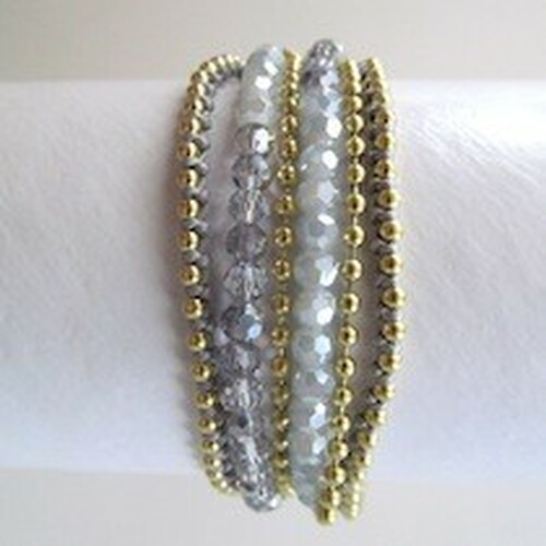 Charcoal Beaded Wrap Bracelet-Gold