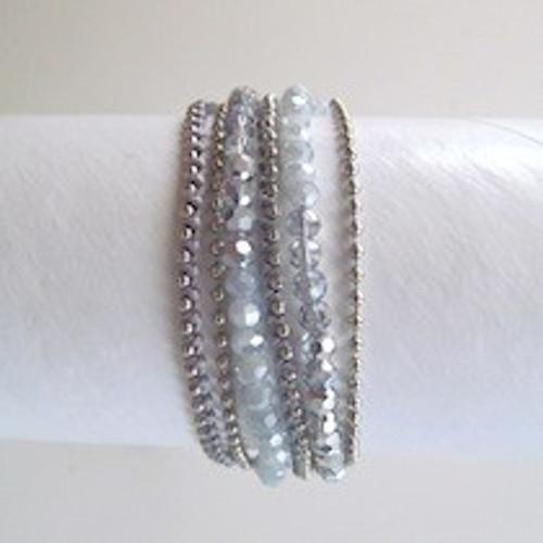 Charcoal Beaded Wrap Bracelet-Silver
