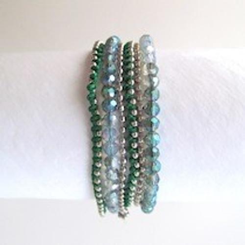 Green Beaded Wrap Bracelet-Silver