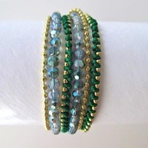 Green Beaded Wrap Bracelet-Gold
