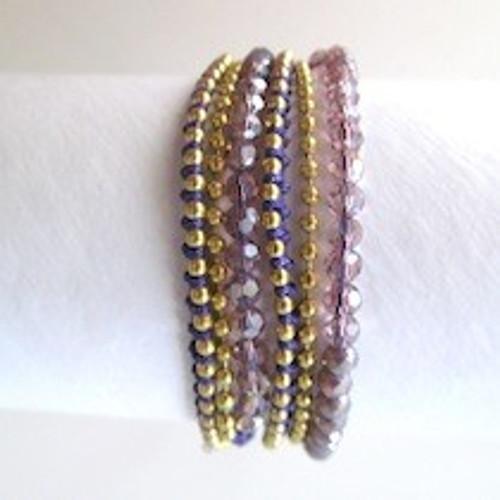 Purple Beaded Wrap Bracelet-Gold