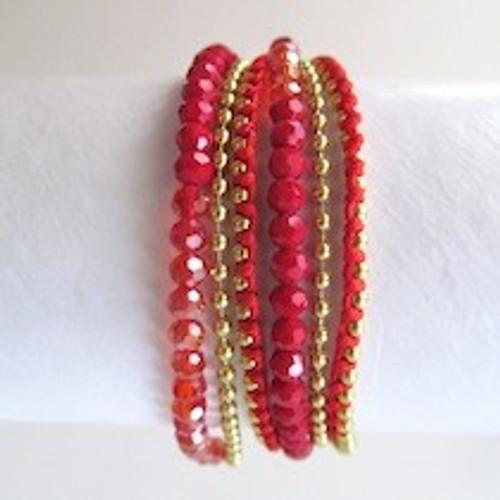 Red Beaded Wrap Bracelet-Gold