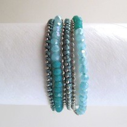 Turquoise Beaded and Thread Wrap Bracelet-Silver