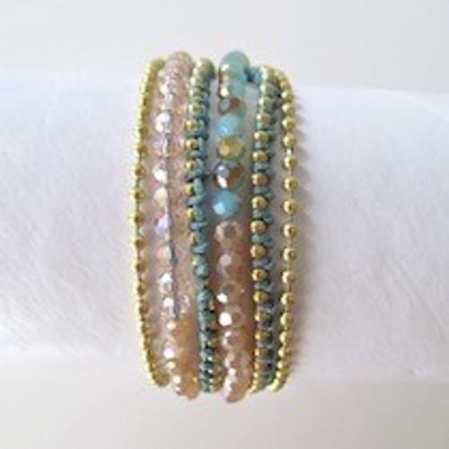 Turquoise Beaded Wrap Bracelet-Gold