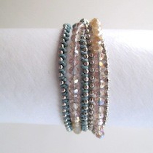 Turquoise Beaded Wrap Bracelet-Silver