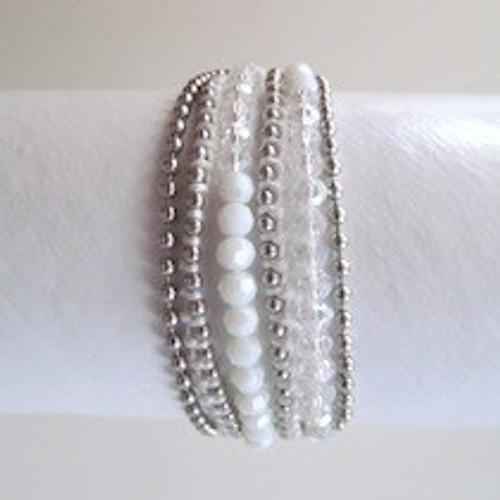 White Beaded Wrap Bracelet-Silver