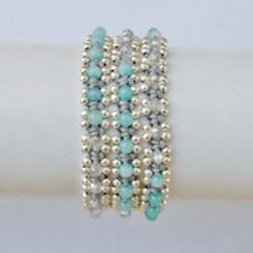 Aqua Beaded Grey Waxed Cotton Wrap Bracelet