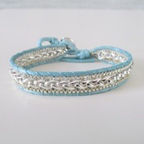Aqua Leather Silver Bracelet