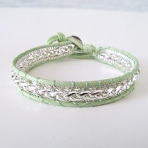 Green Leather Silver Bracelet