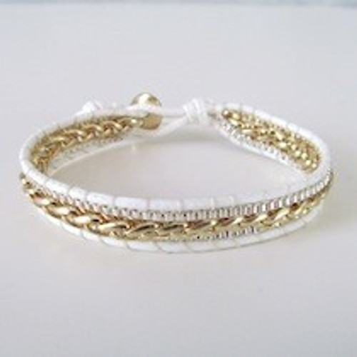 White Leather Silver and Gold Bracelet