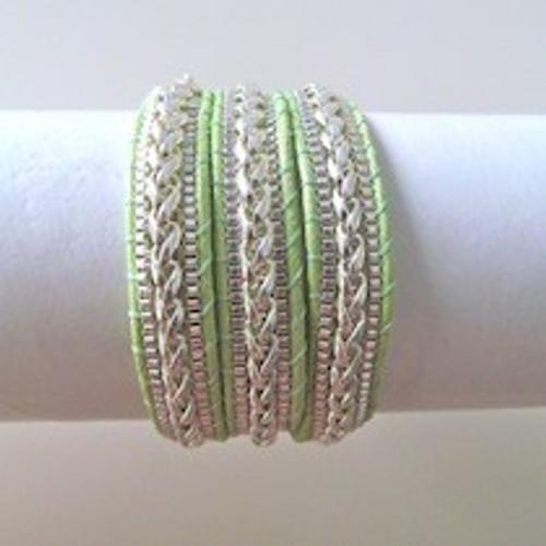 Green Leather Wrap Bracelet-Silver
