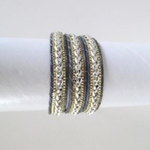 Grey Leather Wrap Bracelet-Gold & Silver