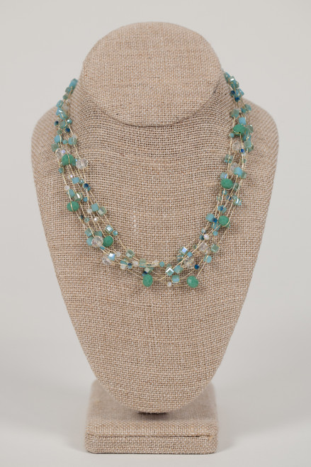 Silk Thread Necklace - Blue, Turquoise, & Crystal Beads