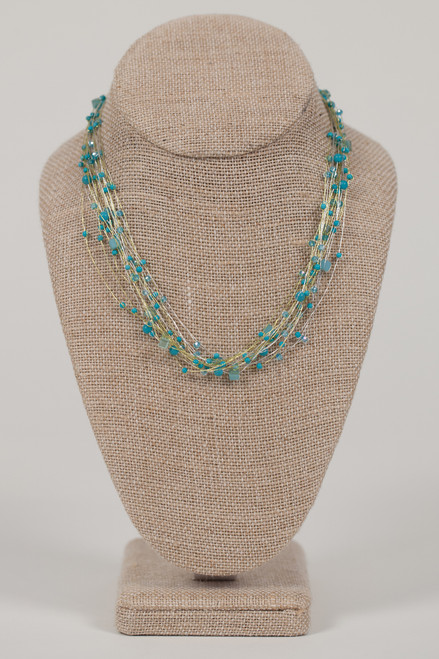 Silk Thread Necklace - Turquoise Beads