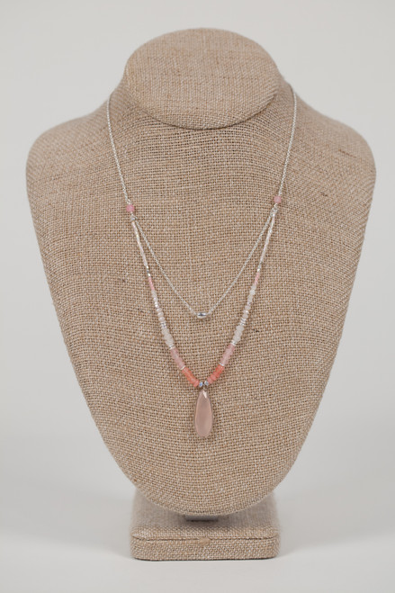 Rose Stone Drop Necklace