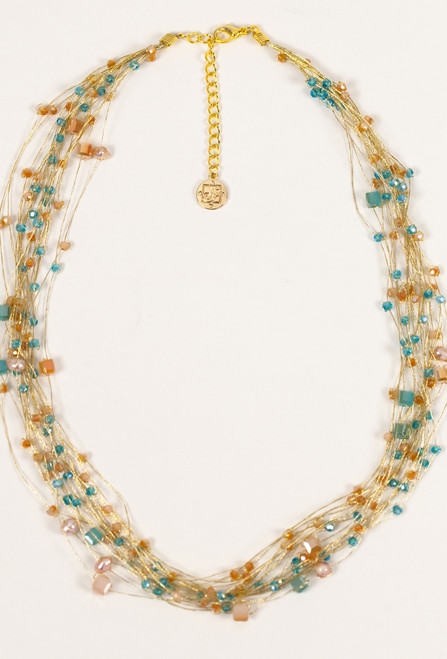 Silk Thread Necklace in Blue & Peach