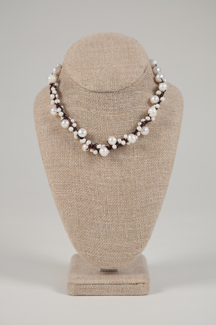 White Pearl Necklace on Dark Wax Cotton