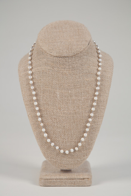 Long White Pearl Necklace on Gray Wax Cotton