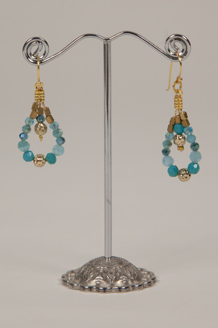 Stone & Crystal Earrings - Aqua