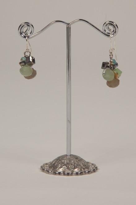 Silk Thread Earrings - Turquoise & Brown