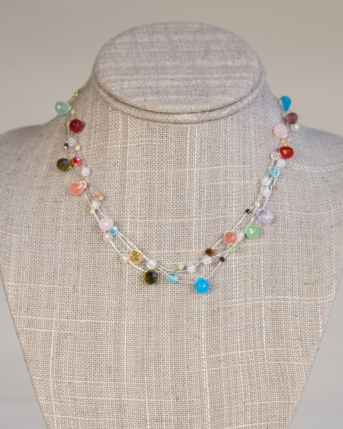 Silver Silk Thread Ornament Necklace