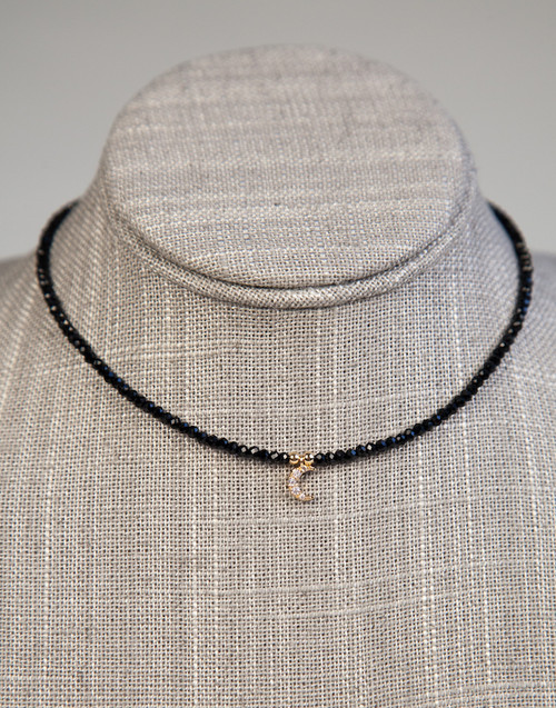 Black Beaded Choker with Moon Pendant