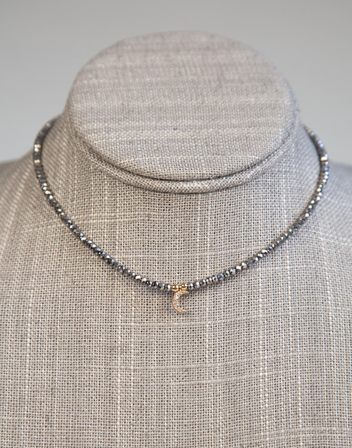 Silver Beaded Choker with Moon Pendant