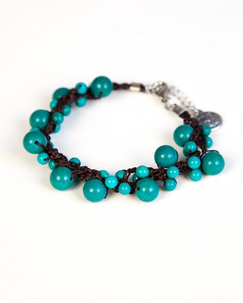 Turquoise Pearl Bracelet on Dark Wax Cotton