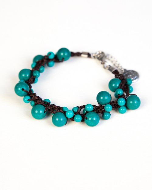 Turquoise Pearl Bracelet on Dark Wax Cotton