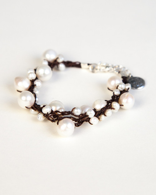 White Pearl Bracelet on Dark Wax Cotton