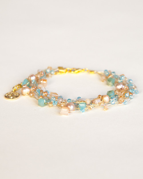 Silk Thread Bracelet - Blue & Peach