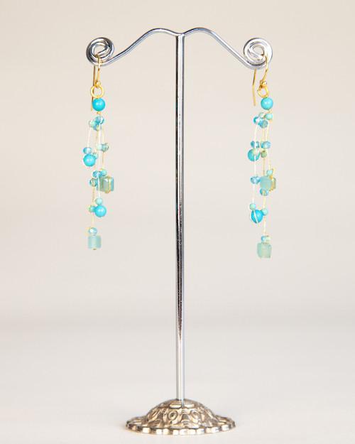 Silk Thread Earrings - Turquoise