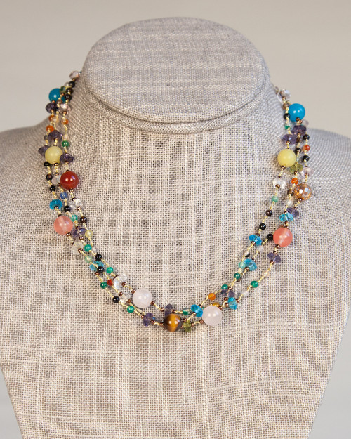 Gold Silk Thread Multi-Colored Necklace