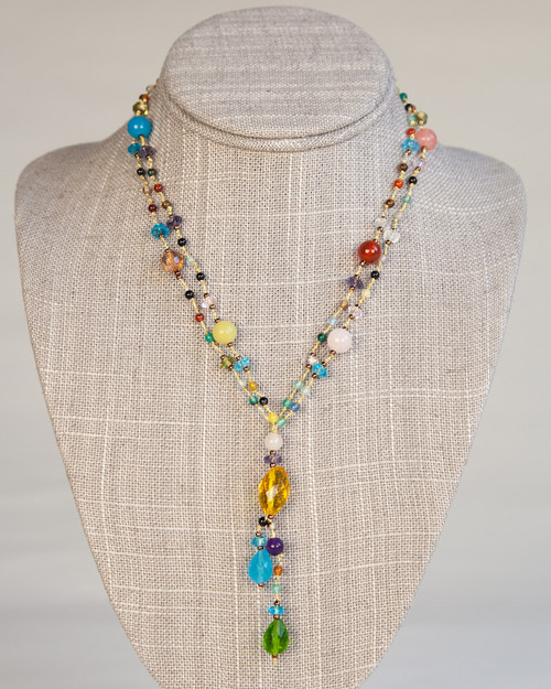 Carnivale Necklace on Gold Silk Thread