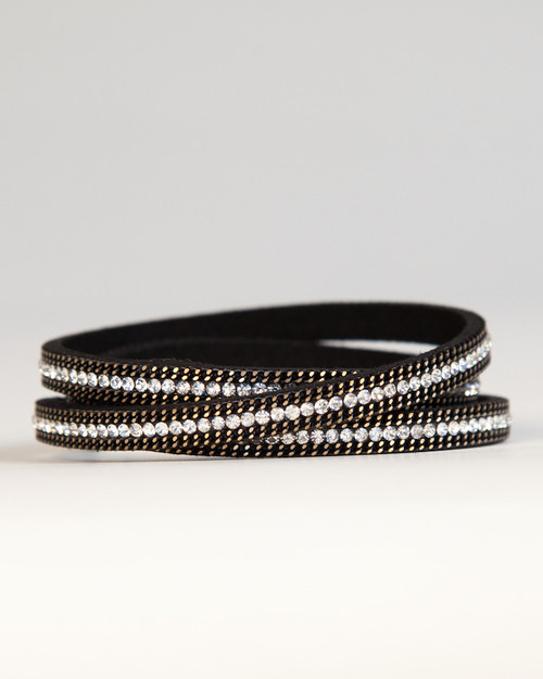 Leather & Crystal Wrap Bracelet - Black