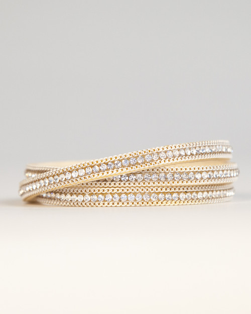 Leather & Crystal Wrap Bracelet - White Gold & Ivory