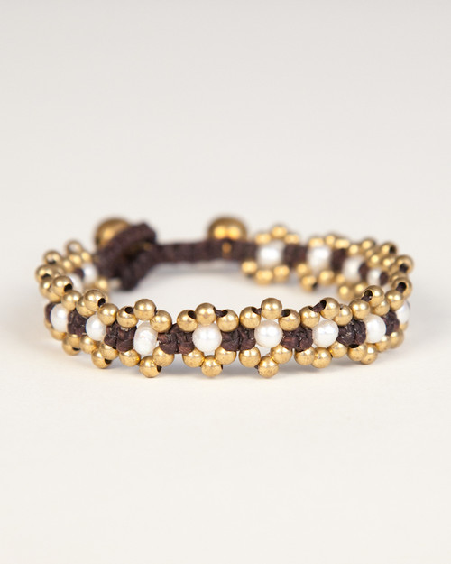 Pearl Daisy Chain Bracelet - Gold & White