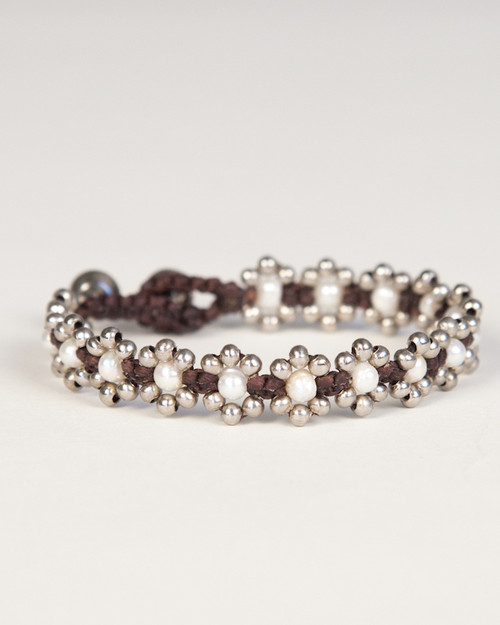 Pearl Daisy Chain Bracelet - White & Silver