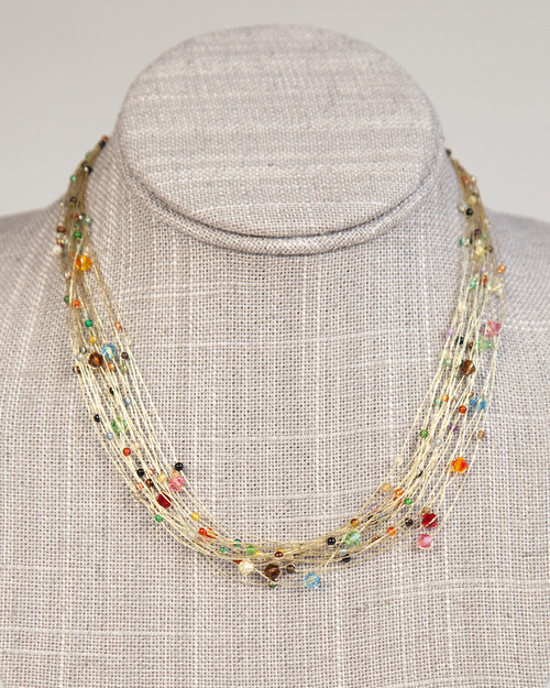 Bird's Nest Necklace - Gold Multi-Colored