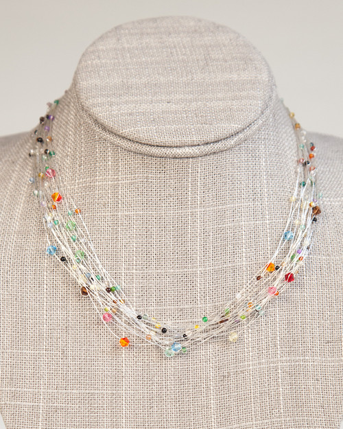 Bird's Nest Necklace - Silver Multi-Colored