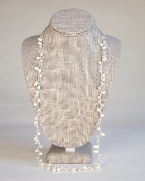 White Orb Necklace on Silk Thread
