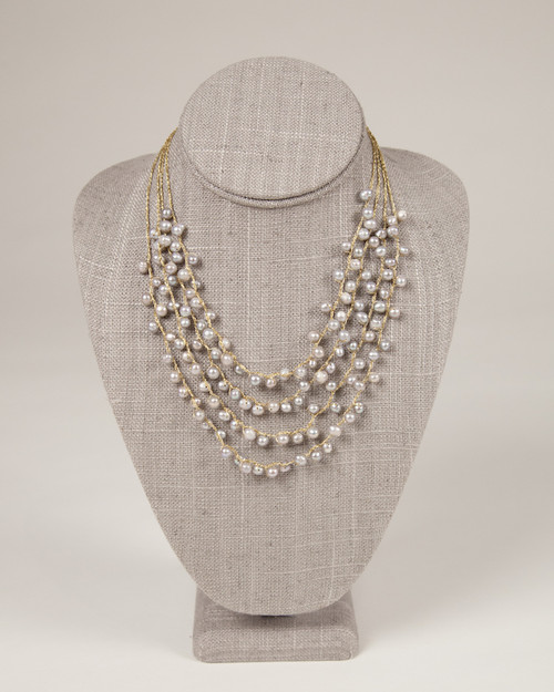Pebble Stone Pearl Multi-Strand Necklace
