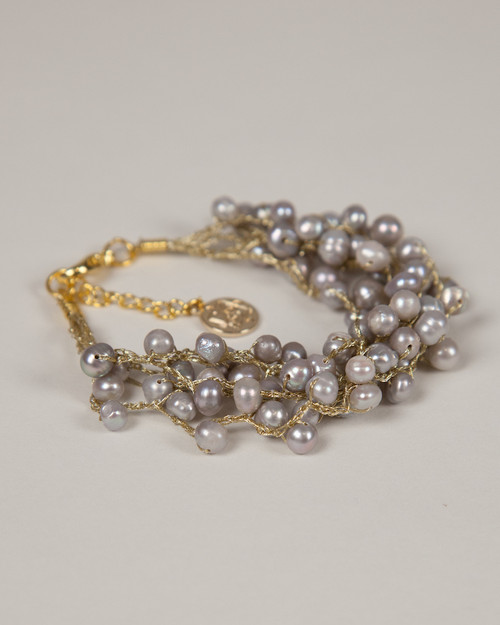 Pebble Stone Pearl Bracelet - Silver with gold silk thread