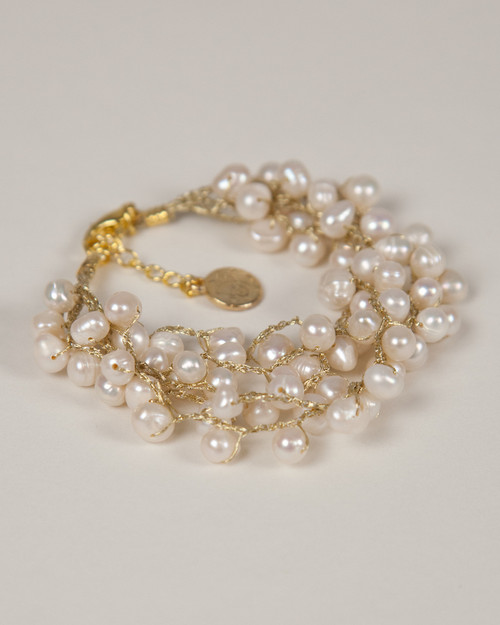 Pebble Stone Pearl Bracelet - White with gold silk thread
