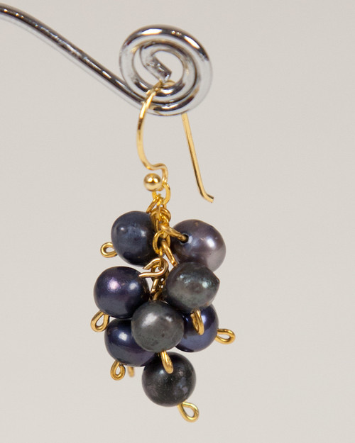Pebble Stone Pearl Earrings - Black & Gold