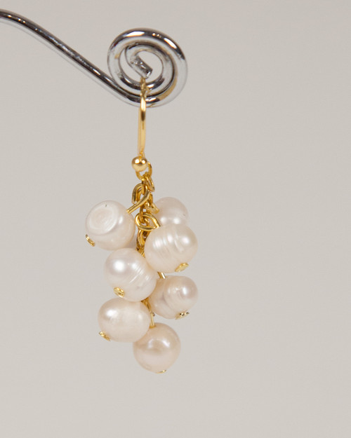 Pebble Stone Pearl Earrings - White & Gold