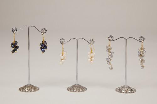 Pebble Stone Pearl Long Earrings - Silver & Gold