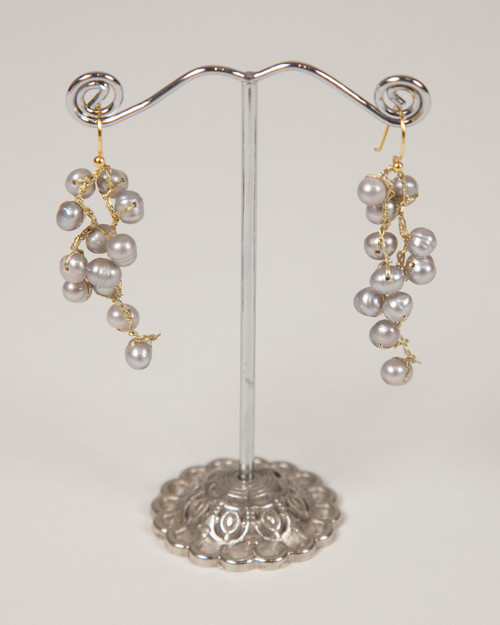 Pebble Stone Pearl Long Earrings - Silver & Gold