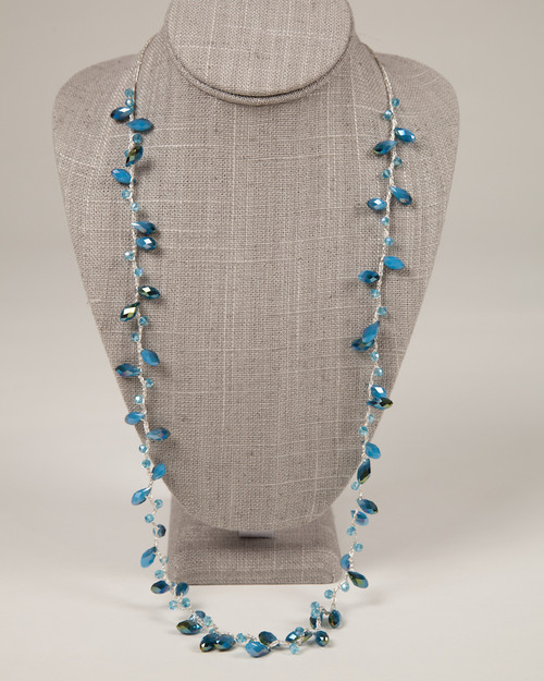 Long Tear Drop Necklace - Blue