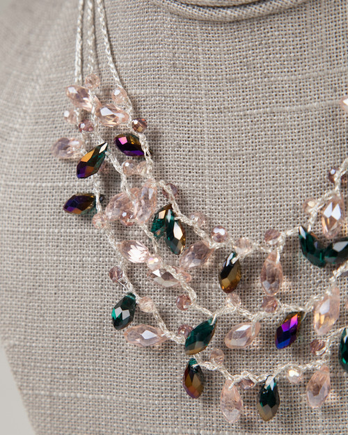 Multi-Strand Tear Drop Necklace - Lavender & Purple